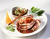 Baked radicchio with olive pesto and white bread