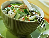 Spicy chicken salad with cucumber and ginger