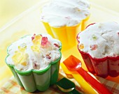Gummi bear ice cream in colourful plastic moulds