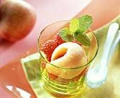 Nectarine sorbet with fresh raspberries