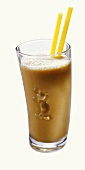 Sea buckthorn frappe in glass with Mickey Mouse motif