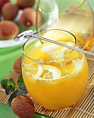 Red Bull punch with lychees and lemons