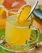 Grapefruit and orange punch in glass cup