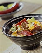 Chinese chili with lamb and peppers from the wok