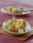 Cauliflower in saffron sauce with shrimps and tarragon