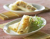Mini spring rolls on two plates