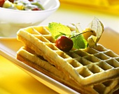 Buttermilk waffles with fruit salad