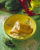 Catfish wrap with rice and fresh thyme