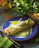Matje herring and shrimp wrap with pears and cress
