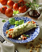 Crespelle caprese (tomato and mozzarella wrap with basil)