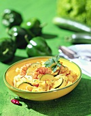 Tagliatelle with scampi and courgettes