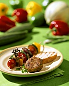 Rissole with skewered vegetables & grilled baguette slice