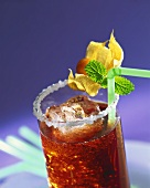 Iced tea with physalis in glass with sugared rim