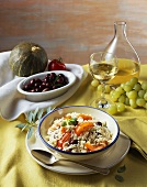 Risotto with olives and tomatoes; white wine