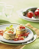 Baked goat's cheese wrapped in courgette with tomato salsa