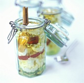 Pickled cauliflower in pickling jar