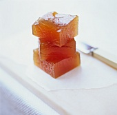 Cubes of quince jelly in a pile