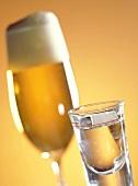 Glas helles Bier und Korn