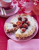 Florentine strawberry cake (a piece cut)
