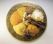 Indian spices and pulses on plate