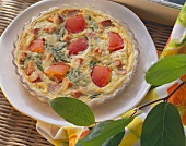 Quiche with Lyon sausage and tomatoes