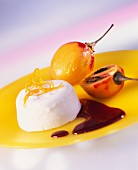Poached tamarillos with yoghurt mousse and red wine sauce