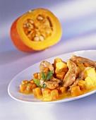 Pumpkin ragout with strips of turkey