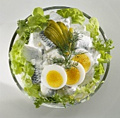 Herring salad with gherkins, egg and lettuce