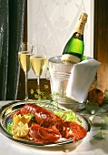Boiled lobster and champagne
