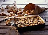 Mushroom gratin in the baking dish