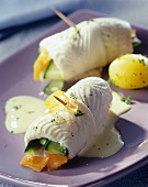 Plaice rolls with vegetable stuffing and parsley potatoes