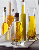 Various olive oils in carafes and bottles