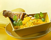Chicken leg with saffron rice
