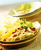 Chinese cabbage salad with sprouts, peanuts & redcurrants