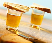 Sherry glasses covered with slices of bread