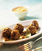 Spanish meatballs with sherry sauce and bay leaf