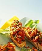 Crostini pomodoro e capperi (Toasted bread with tomato & capers)