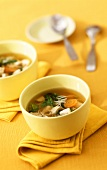 Chicken soup with spinach, carrots and noodles