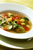 Vegetable broth with broccoli, courgettes, carrots etc.