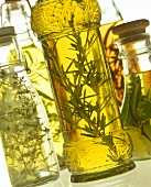 Various types of herb oil and vinegar in bottles