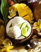 Coconut ice cream with limes in half a coconut