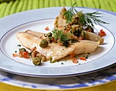 Havel-Zander (pike-perch) with vegetables, capers & shrimps