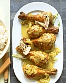 Chicken legs with coconut sauce and lemon grass