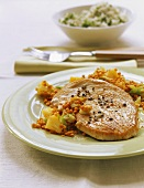 Turkey escalope on lentils with pineapple; rice