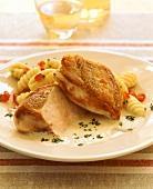 Chicken breast in cider sauce with gnocchi
