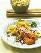 Teriyaki salmon with pineapple rice