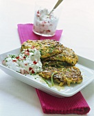 Mushroom and cheese rosti with radish quark