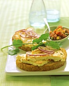 Open grilled cheese and onion sandwich