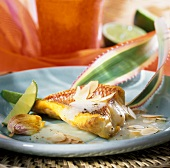 Red snapper with almonds, garlic and limes