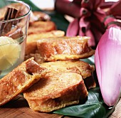 Cuban torrejas (fried bread in syrup)